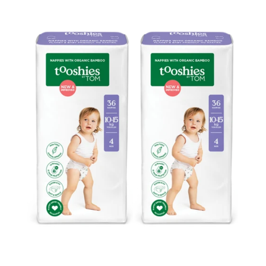 Tooshies by TOM Nappies Size 4 Toddler - Bulk 2x36