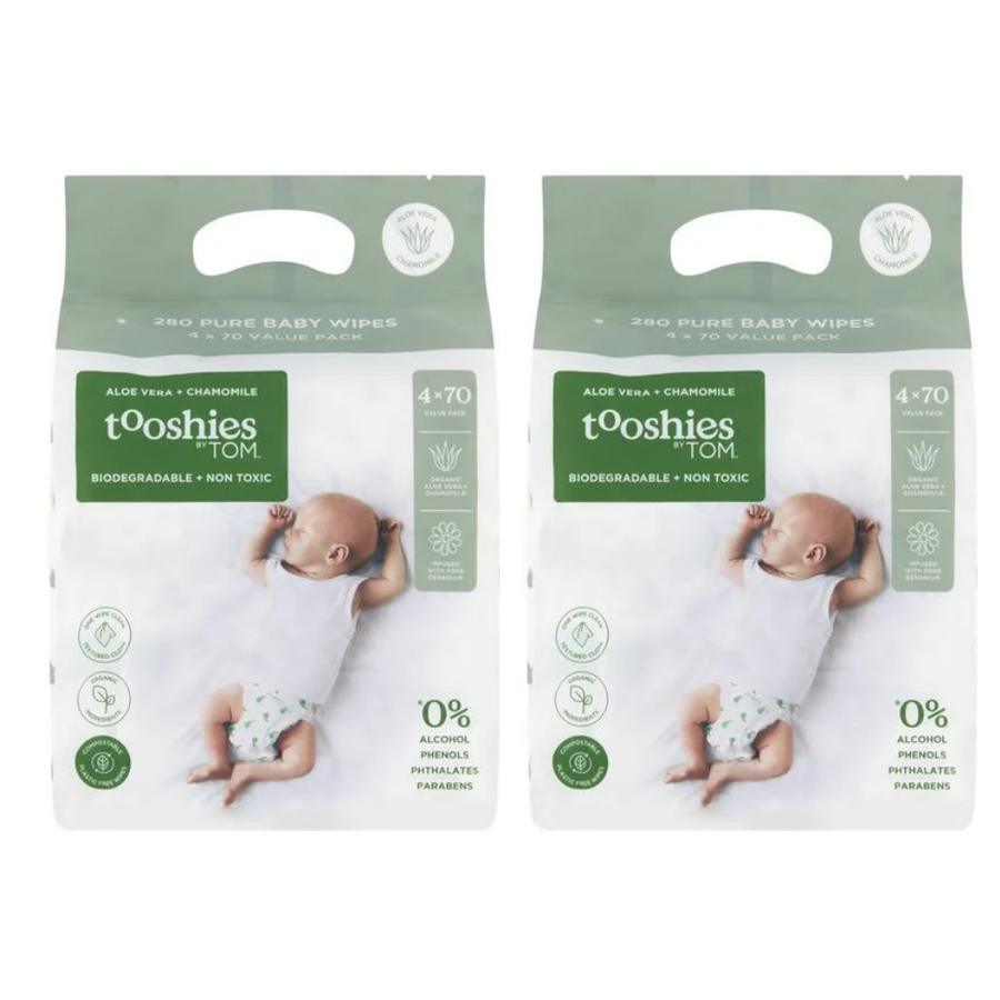 Tooshies by TOM Pure Baby Wipes Aloe Vera & Chamomile - Bulk 8x70