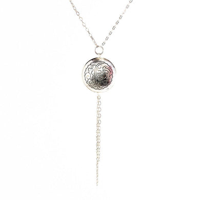 Eden Necklace / Pendant - Engraved Silver Disc, Asia