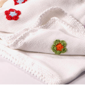Pebble Knitted Cotton Blanket - White, Bangladesh