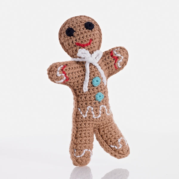 Pebble Knitted Cotton Gingerbread Man Rattle, Bangladesh