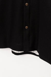 WOOL SNAP COAT - BLACK