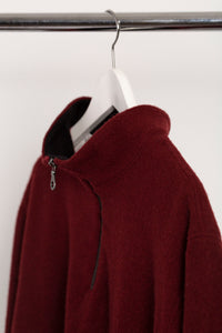 WOOL QUARTER ZIP - BURGUNDY