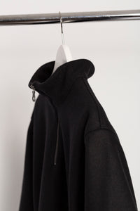 WOOL QUARTER ZIP - BLACK
