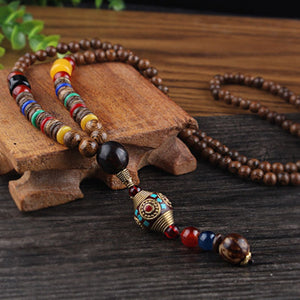 Long Buddhist Mala Wood Beaded Pendant