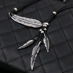 Necklace Alloy Feather Pendants