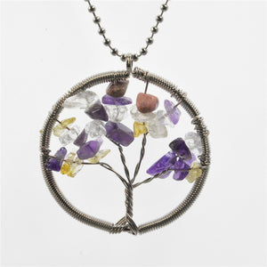 Necklaces Life of Tree Chains Stone Beads Natural Citrine Amethyst Agate