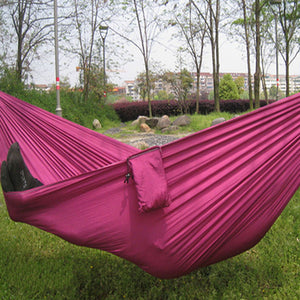 Outdoor Traveling Camping Parachute Nylon Fabric Hammock For Two Person 8 Colors