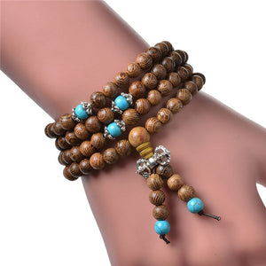 Mala Bracelet Sandalwood, Meditation 108 beads, Wood Prayer Beads