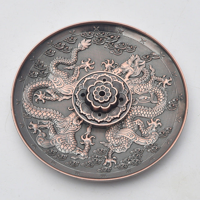 Zinc Alloy Dragon Lotus Incense Burner Holder