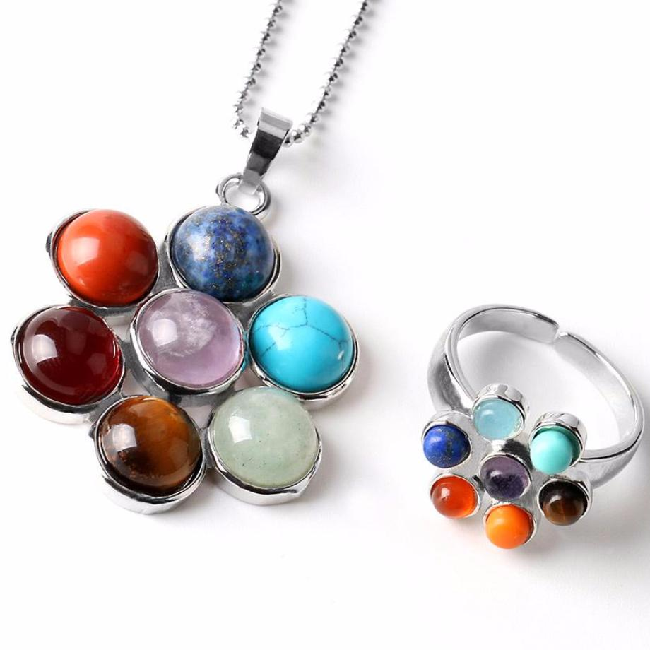 Ring-Necklace 7 Chakra Natural Stone