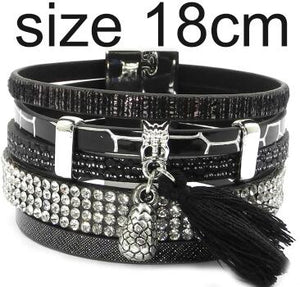 Leather bracelet 3 colors, 3 sizes charm bracelets