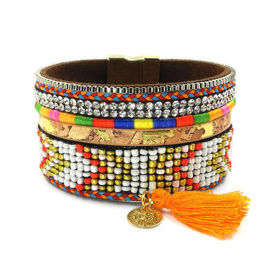 Beads bracelets, leather, Magnetic wrap bracelets, 3 sizes