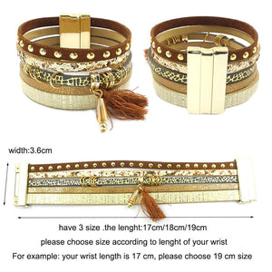 Leather bracelet 6 colors, 3 sizes charm bracelets