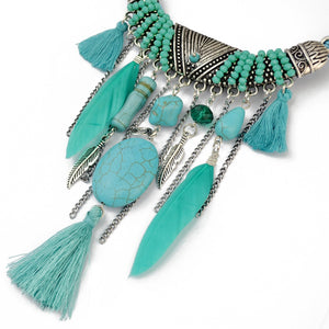 Ethnic Vintage Leather Chain, Resin Bead Necklace, Green Stone  Feather