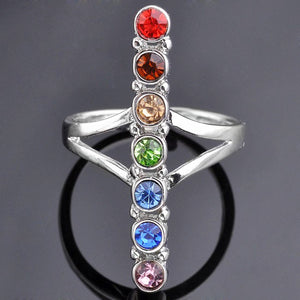 RIng 7 Chakra Point Healing Glass Crystal Cross