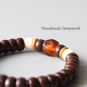 Bracelet Lampwork, & Natural Coconut Shell, Beaded Stretch