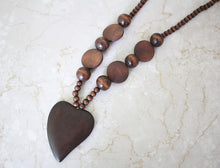 Wood Beads Heart Pendant Long Necklace Handmade