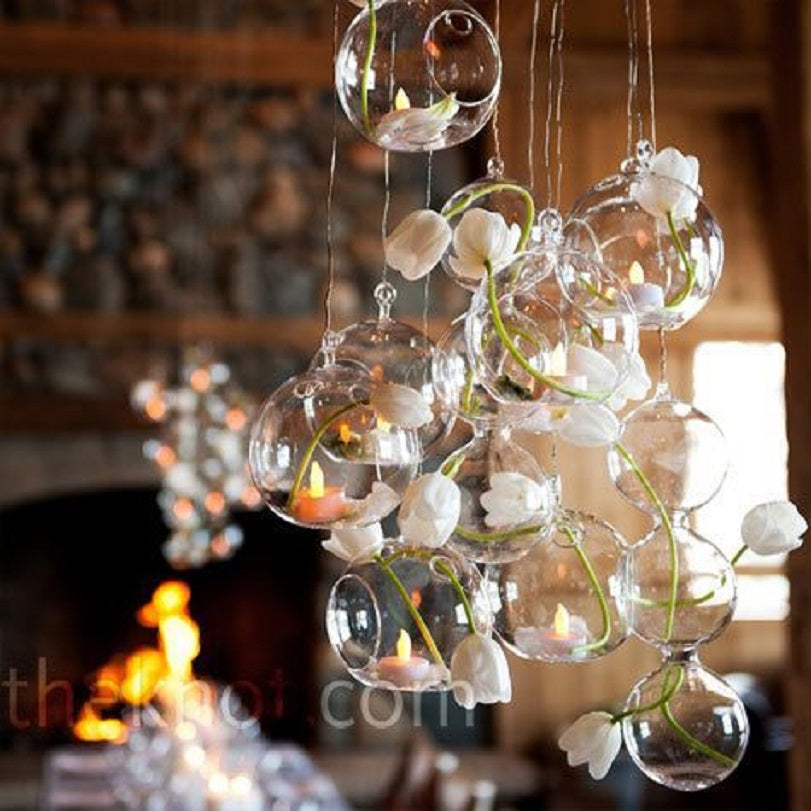 18 PCS/Lot Hanging Tealight Holder Glass Globe