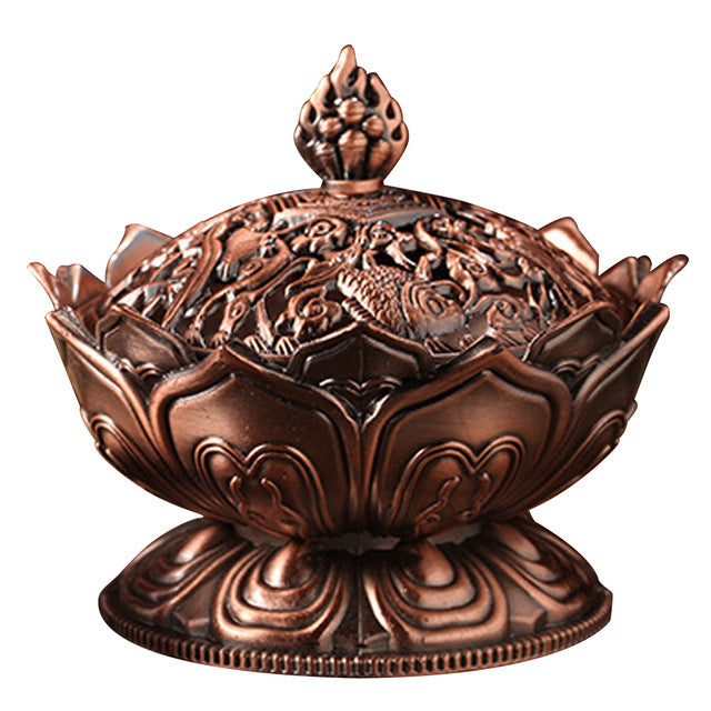 Behokic Zinc alloy Lotus Shape Aromatherapy Incense Burner Holder