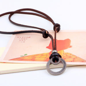 Long Genuine Brown Leather Hoops Men Pendant Necklace
