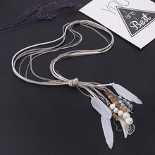 Metal  & Leather Necklace, Leaf  Feather, Wooden Beads