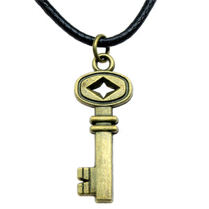 Bronze Plated Retro Key Pendant Necklace Leather Chain