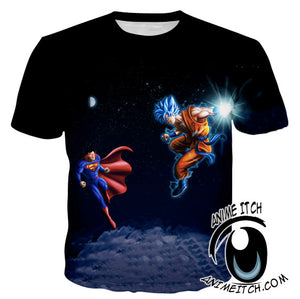 Superman vs SSJ Blue Goku T-Shirt - Dragon Ball Z Shirts - 3D Clothing