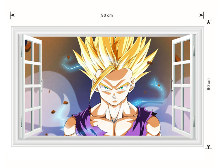 Dragon ball z wall stickers ssj2 teen gohan wallpaper 60x90 cm