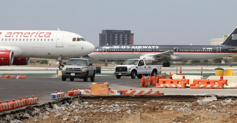 Airport barricades used on a tarmac construction project