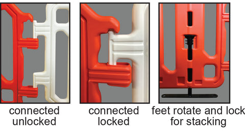 CrowdCade Deluxe Plastic Barricade Locking and Feet Detail: