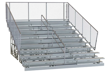 Bleachers with fence and guard rail