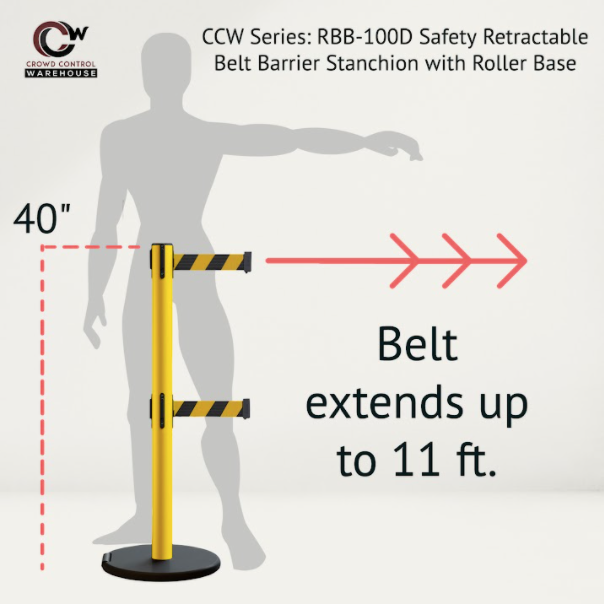 Retractable belts extend up to 11 feet