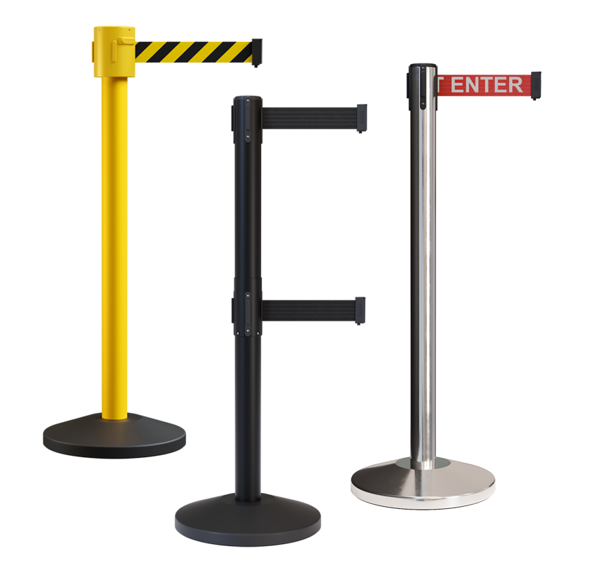 Retractable belt barrier stanchions