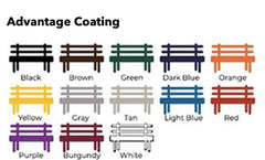 Color options for park site furnishings.