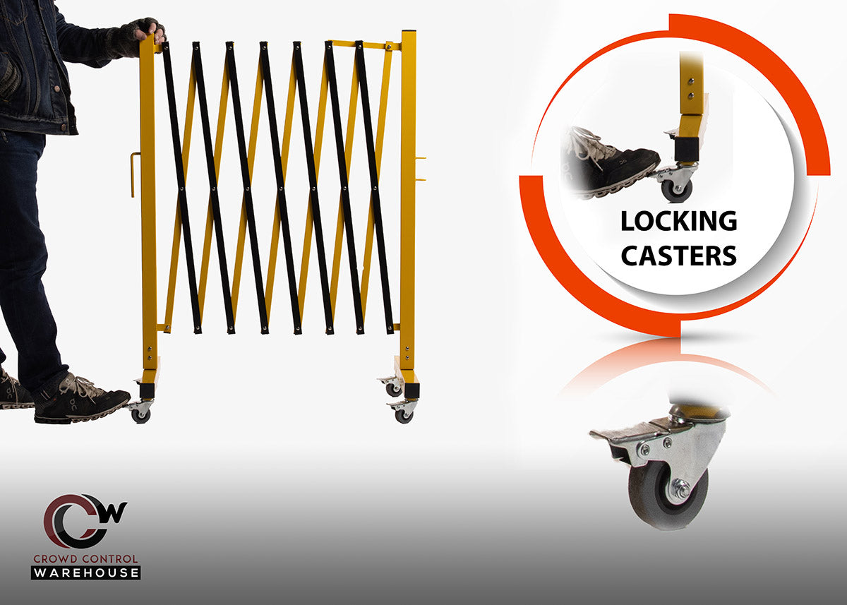 locking casters for expandable barriers