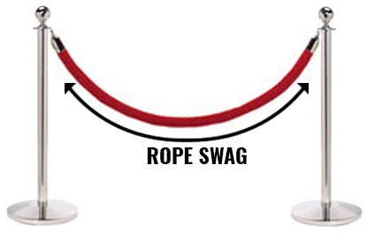 Two stanchion posts holding red velvet ropes with perfect rope swag