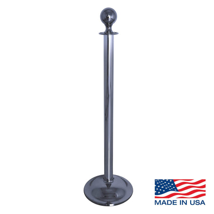 Heavy Duty Dome Base Rope Stanchion with Ball Top