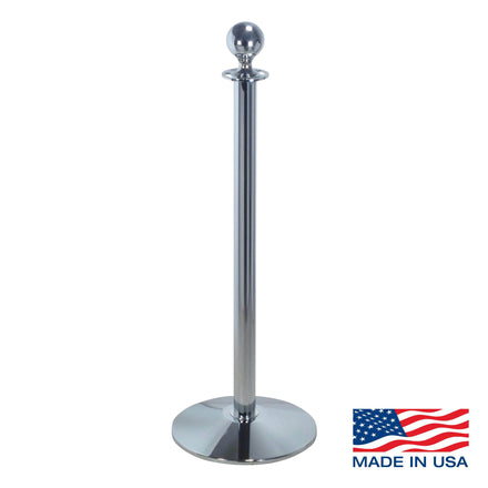 Heavy Duty Sloped Base Rope Stanchion with Ball Top