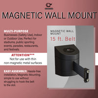 CCW Series WMB-220- Wall Mounted Retractable Belt Barrier With Black Magnetic ABS Case- 10, 13, & 15 Ft. Belts