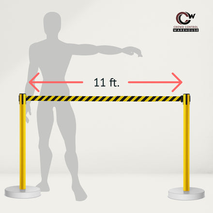CCW Series WFBB-100 Stanchion Belt Barrier Water Fillable Base Yellow PVC Plastic Post with 9 Foot  Belt