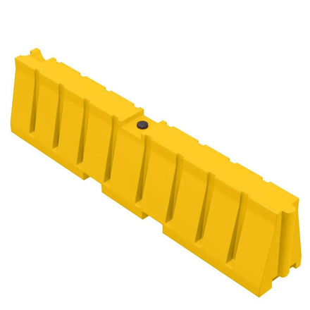 """Yellow Water/Sand Fillable All Purpose Roadway or Airport Barricade - 24"""" H x 96"""" L x 16"""" W"""