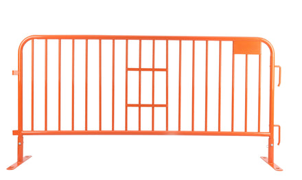 7.5 Ft. Heavy Duty Interlocking Steel Barricade - Safety Orange