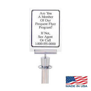 Clear Paper Sign Holder and Bracket for Visiontron Barriers/Stanchions
