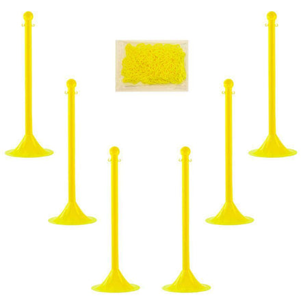 Light Duty Plastic Stanchion Posts and Chain Kit with (6) Posts and 50 Ft. of Chain in Your *Choice of Colors*
