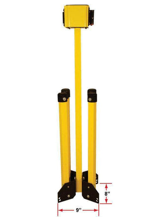 Visiontron Folding Stand Mount Yellow Safety Stanchion with 30 Ft. Belt