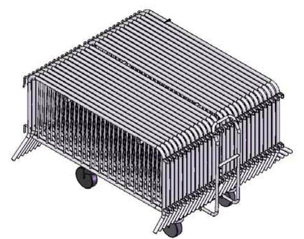 *SUPER BUY* Pack of (30) 8 Ft. Heavy Duty Interlocking Steel Barricades with (1) Storage Pushcart and FREE SHIPPING