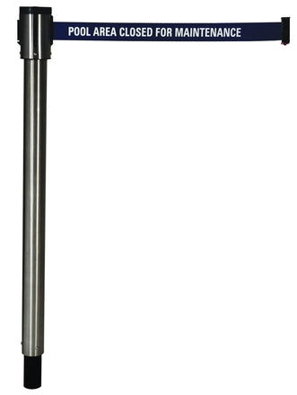 Removable Floor Mount Single Line Retracta-Belt Barrier with 15 Ft. Belt
