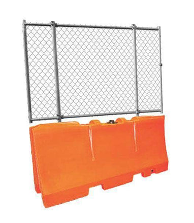 "Orange Water/Sand Fillable Traffic Barrier - 32"" H x 72"" L x 18"" W with Fencing Panel"