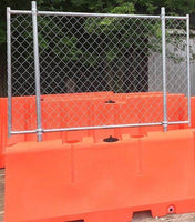 "Orange Water/Sand Fillable Traffic Barrier - 32"" H x 72"" L x 18"" W with Fencing"